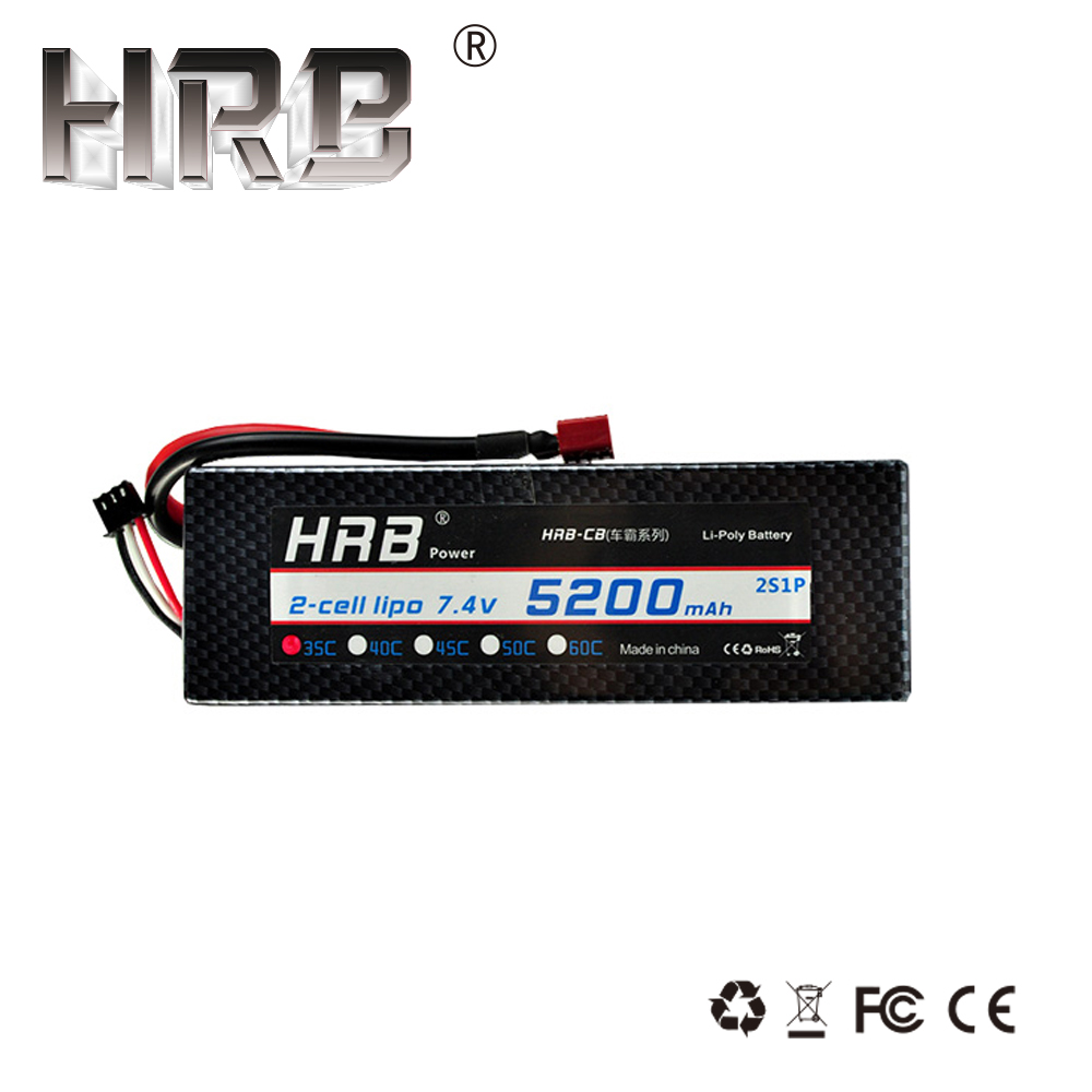 HRB <font><b>Lipo</b></font> Battery <font><b>2S</b></font> 7.4V <font><b>5200mah</b></font> 35C T Deans XT90 XT60 EC5 Hard Case For Traxxas TRX4 SCX10 Buggy Cars Airplanes Truck RC Parts image