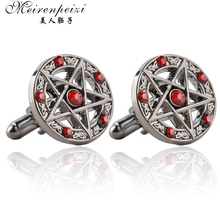 Classic Fashion Pentagram Cufflinks Antique Silver Metal Red Black Crystal Vintage Cuff Links French Shirts Sleeve Button Men