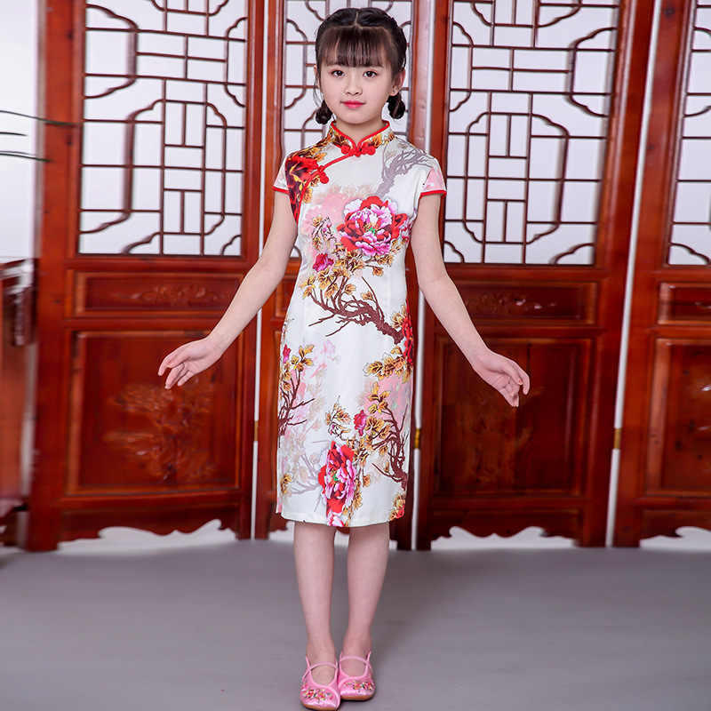 חדש הגעה ילדי שמלות קיץ 2019 ישר נסיכת בנות Cheongsam שמלות ילד תינוק כותנה בגדים סיניים מסורתיים