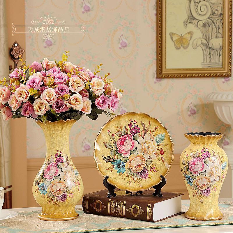 Модные Новое поступление Керамические три 1 предмет ваза гостиная украшение кабинета винтажные столовый набор домашняя аксессуары украшен