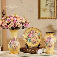 Fashion new arrival ceramic three piece set vase living room decoration cabinet vintage table set home accessories decoration