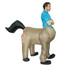 Halloween Costume for Men Adult Centaurus Inflatable Horse Costume Human Face Horse