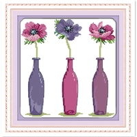 Trzy Kwiaty DIY Zestaw 11CT Drukowane Na Płótnie Haft Krzyż Zestaw Home Decor Chińskie Wzory Counted Cross Stitch Kit Malowanie
