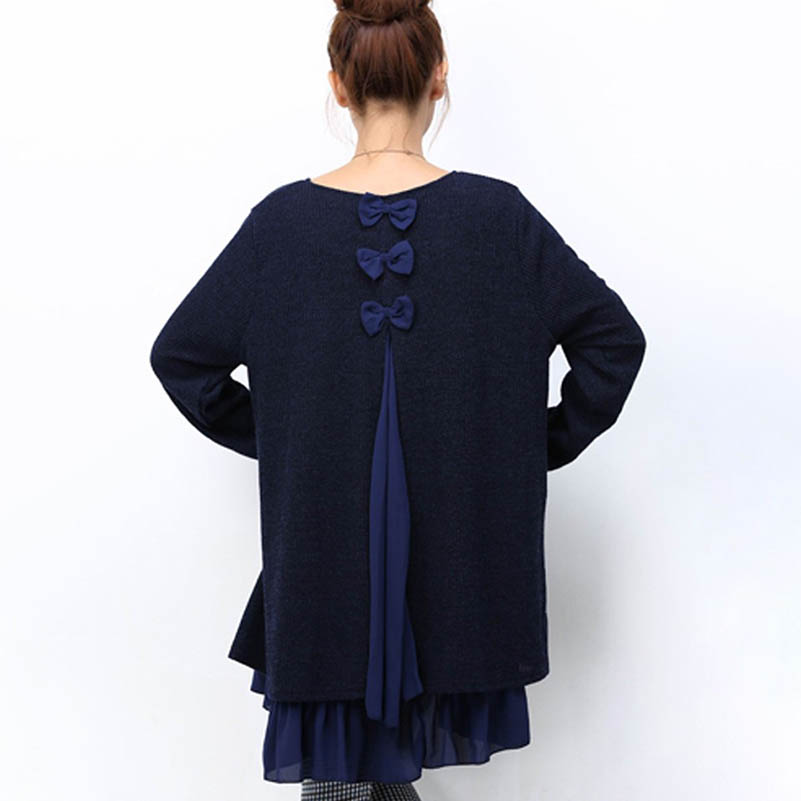 NiceMix 2019 Plus Size Long Sweater Women Gauze Bow Patch Sexy Back Hollow Out Pullover Sweaters Loose Oversize Ladies Tops in Pullovers from Women 39 s Clothing