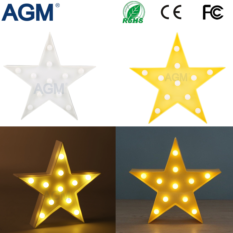 High Quality 3D Stars Marquee font b LED b font Battery 3D Desk Table Standing Lamp
