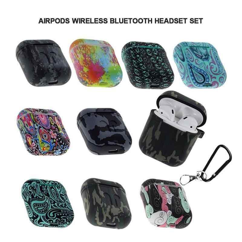 Airpods ためケース迷彩シリコーン耐衝撃プロテクターカバーケース発光アップル Airpods TWS Bluetooth イヤホン