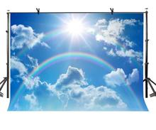 150x220cm rainbow Backdrop Blue Sky Clouds Rainbow Nature Photography Background for Camera Photo Props