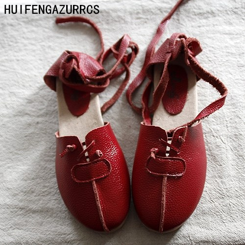 HUIFENGAZURRCS-2018 New Pure Handmade Genuine leather shoes ,Sen female casual shoes,shallow mouth lacing retro shoes,2 colors huifengazurrcs new genuine leather
