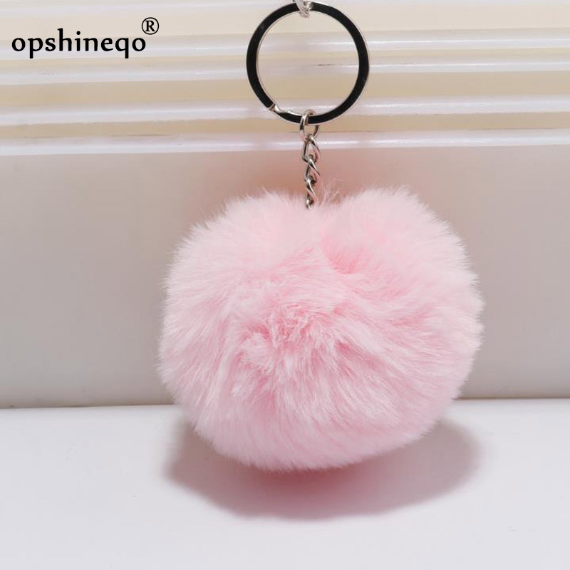 Llaveros de piel simple llavero pompón piel de conejo Artificial llaveros para mujer bolso de coche llavero 14 colores