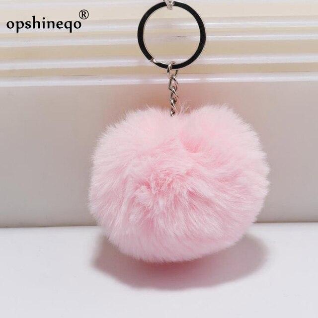 simple key chain Fur ball Pompon Keychain Pompom Artificial Rabbit Fur Animal Keychains For Woman Car Bag KeyRing 14 colors