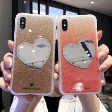 3D Cute Love Heart Diamond Mirror Shell Glitter Soft Phone Case For iPhone X XR XS MAX 6S 7 8 Plus(China)