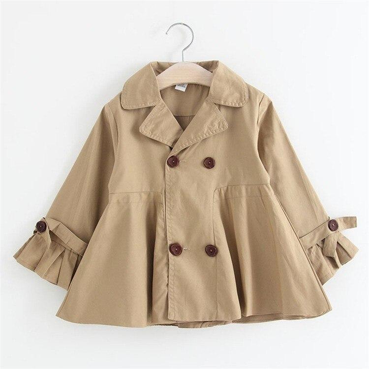 Autumn 2018 Kids   Trench   Coat Khaki Ruffles Outwear 3 4 5 6 7 8 Y Girl Clothing Fashion Cotton Lapel Windbreaker Girls Jackets