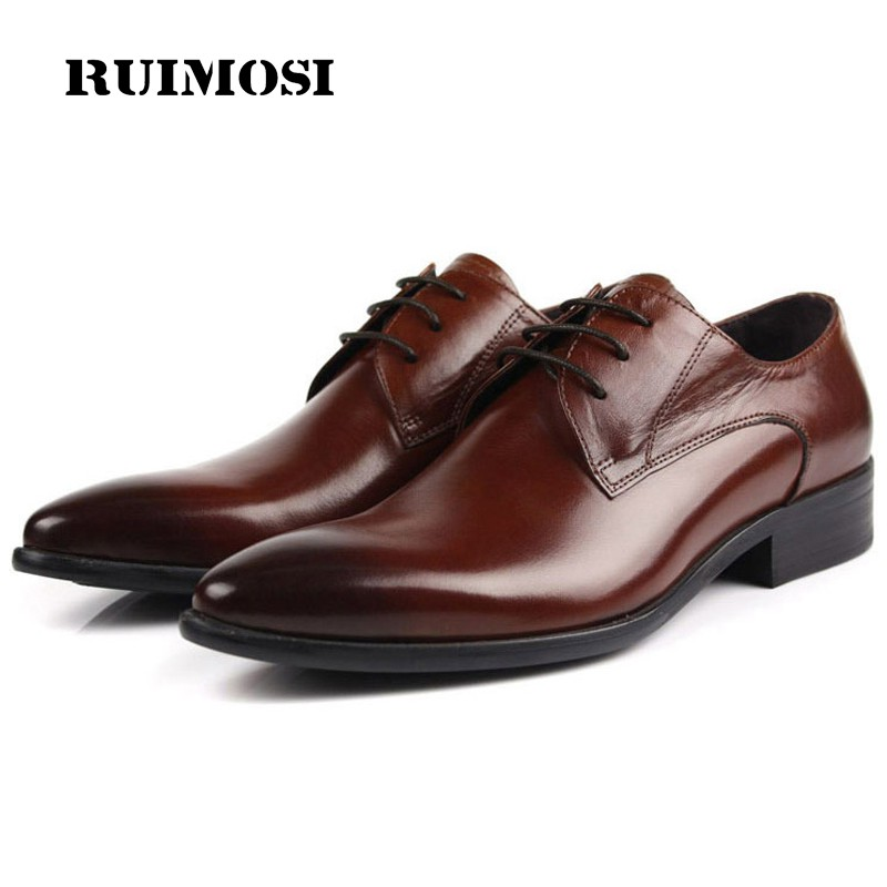 RUIMOSI Luxury Formal Brand Man Dress Shoes Genuine Leather Italian Designer Oxfords Top Quality Pointed Derby Men's Flats BD11 fashion top brand italian designer mens wedding shoes men polish patent leather luxury dress shoes man flats for business 2016