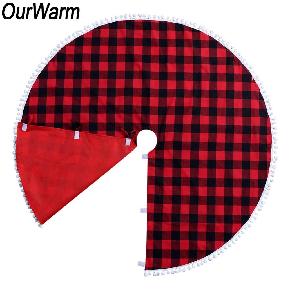 OurWarm 48inch Pom Buffalo Plaid Christmas Tree Skirt New Year Present Carpet Tree Skirt Christmas Decoration for Home 2018