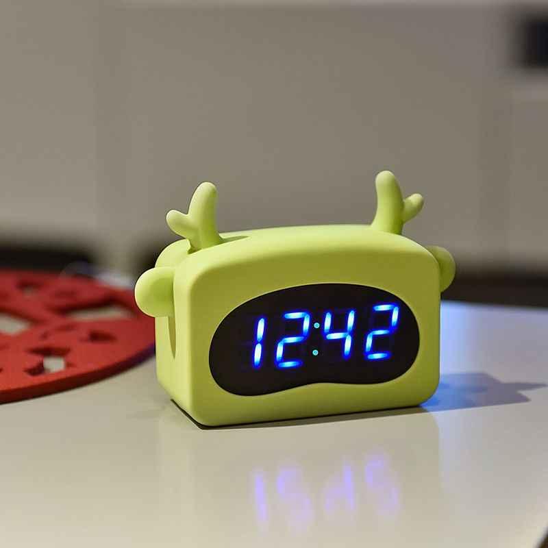 Мини светодиодный цифровой будильник часы со светодиодным дисплеем Голосовое управление милые животные будильник Настольный Декор Регулируемая яркость Usb и батарея