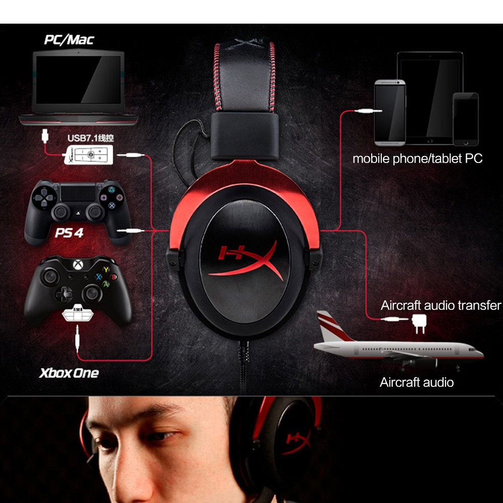 Kingston HyperX Cloud II Gaming Headset with Microphone Hi-Fi 7.1 Surround Sound Gaming Headphone  for PC & PS4