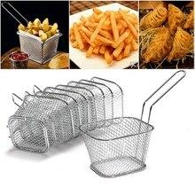 Mini freidoras francesas, cesto de red, patatas fritas, herramienta de cocina, freidora de acero inoxidable, para el hogar, Mini cestas para patatas fritas, colador