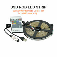 RGB LED STRIP USB Colour Changing Lighting Kit 50cm 1M 2M 3M 4M 5M TV, PC,PS4 Background light 20Key Remote 2835 RGB Led Strip