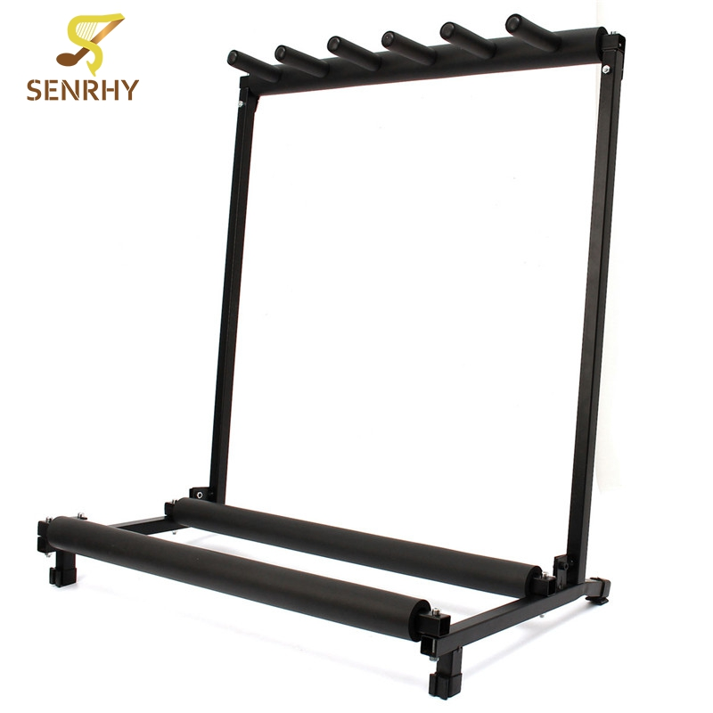 Senrhy Guitar Stand 5 Way Multi Guitar Stand Foldable Rack Storage For Electric Acoustic Bass Universal Instruments Bracket Hot amumu traditional weaving patterns cotton guitar strap for classical acoustic folk guitar guitar belt s113