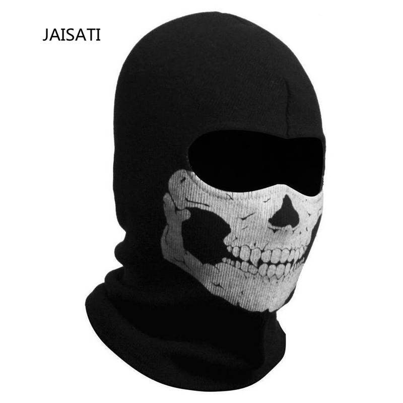 JAISATI Sports riding ski protection mask personality skull head cover windproof warm hood mask airsoft adults cs field game skeleton warrior skull paintball mask