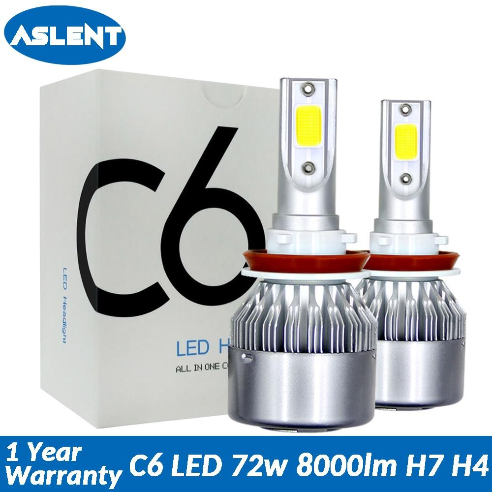 Aslent C6 led Auto Scheinwerfer H7 LED H4 Birne HB2 H1 H3 H11 HB3 9005 HB4 9006 9004 9007 9012 72 W 8000lm Auto Lampen Nebel Lichter 12 V