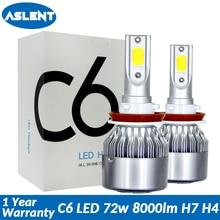 Aslent C6 светодиодный фар автомобиля H7 светодиодный H4 лампы HB2 H1 H3 H11 HB3 9005 HB4 9006 9004 9007 9012 72 W 8000lm Авто Противотуманные фары 12 V