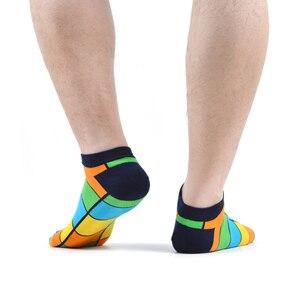Image 4 - SANZETTI 16 ペア/ロットカジュアルなノベルティの男性カラフルな夏コーマ綿の足首のソックスチェック柄ストライプ幾何涼しいドレスボートソックス