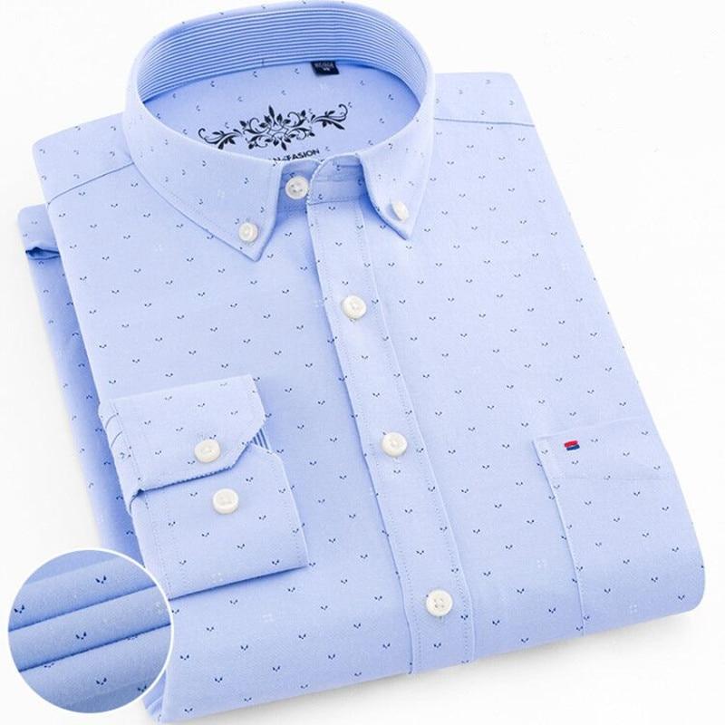 Image 2 - Мужские рубашки с длинным рукавом, Стандартная посадка, мужская клетчатая рубашка, полосатые рубашки, Мужская одежда, Оксфорд, Camisa Social, 5XL, 6XL, большие размеры, уличная одежда-in Повседневные рубашки from Мужская одежда