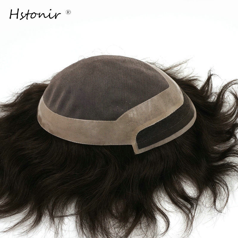 "Cheap Price Hstonir Men Toupee 2# Color Brown 7x9"" Swiss Lace Front Natural Hairline System Human Remy Hair Indian Wigs H097 Sales Of Quality Assurance"