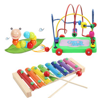 6 Type Set Include 3 Pcs Wooden Toy Early Math Childhood Learning Toy Children Kids Colorful Wooden Beads Educational Toy Kids
