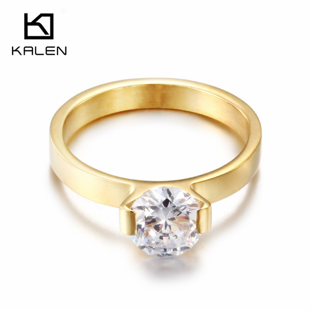 Us 327 18 Offkalen New Fashion Dubai Gold Color Rings Stainless Steel Bagues Femme Rhinestone Cheap Party Engagement Lover Couple Rings Gift In
