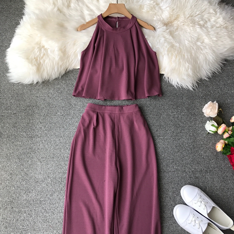 HTB1mKsVVxjaK1RjSZKzq6xVwXXa9 - two piece set women fashion sexy short top and long pants casual sleeveless Elastic high waist female summer festival clothing