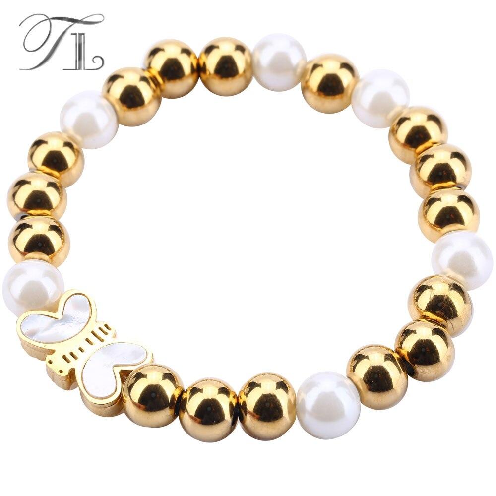 TL Strang Perlen Armbänder Shell Schmetterling Charme Edelstahl Armbänder Gold Elastische Armbänder Romantische Femme Armbänder