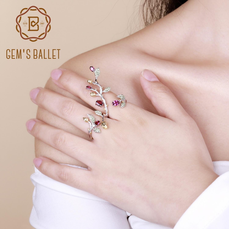 Takı ve Aksesuarları'ten Halkalar'de GEM'S bale 925 ayar gümüş ayarlanabilir yüzük doğal Rhodolite Garnet şube çiçek ağacı çift parmak yüzük kadınlar için parti'da  Grup 1