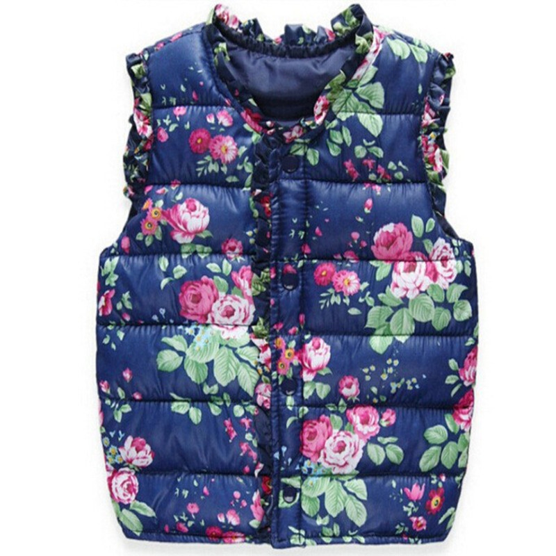 2018 Girls Kids Vests Children's Down Cotton Warm Vest Baby Girls Sweet Floral Waistcoat High Quality Kids Vest Outerwear