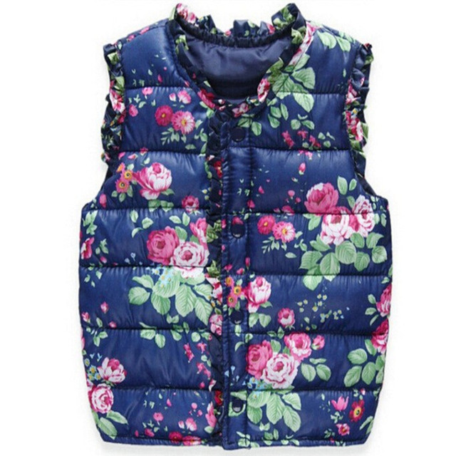 2018 Girls Kids Vests Children's Down Cotton Warm Vest Baby Girls Sweet Floral Waistcoat High Quality Kids Vest Outerwear