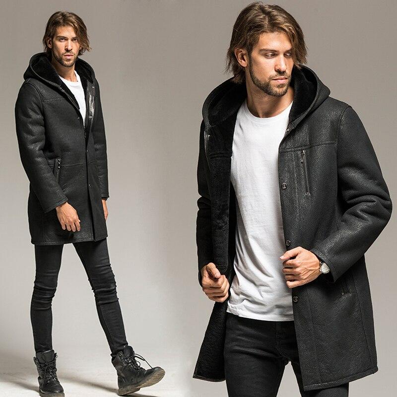 Uomini giacca di Montone Cappotto Pilota Tuta Sportiva Un lungo con cappuccio maschio di pecora cappotto di pelliccia
