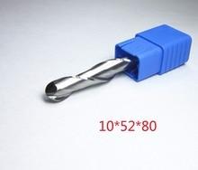 עבור נגרות Ø 10mm להב לחתוך L1 = 52mm טונגסטן קרביד כדור האף סוף טחנות CNC חריטת חיתוך נתב bits כרסום קאטר