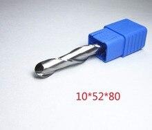 Ağaç İşleme için Ø 10mm bıçak kesim L1 = 52mm tungsten karbür topu burun frezeler CNC gravür kesme freze uçları freze kesicisi