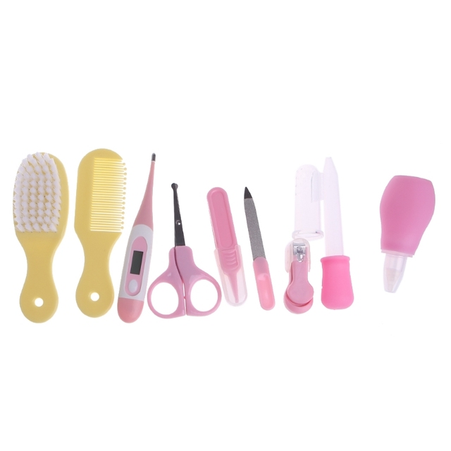 10pcs/Set Baby Care Products Newborn Baby Kids Nail Hair Health Care Thermometer Grooming Brush Kit 5
