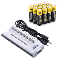 12Pcs AA Rechargeable Battery 2800 mAh + 8Slots Battery Charger Kits for 1.2V Ni MH AA/AAA Rechargeable Batteries
