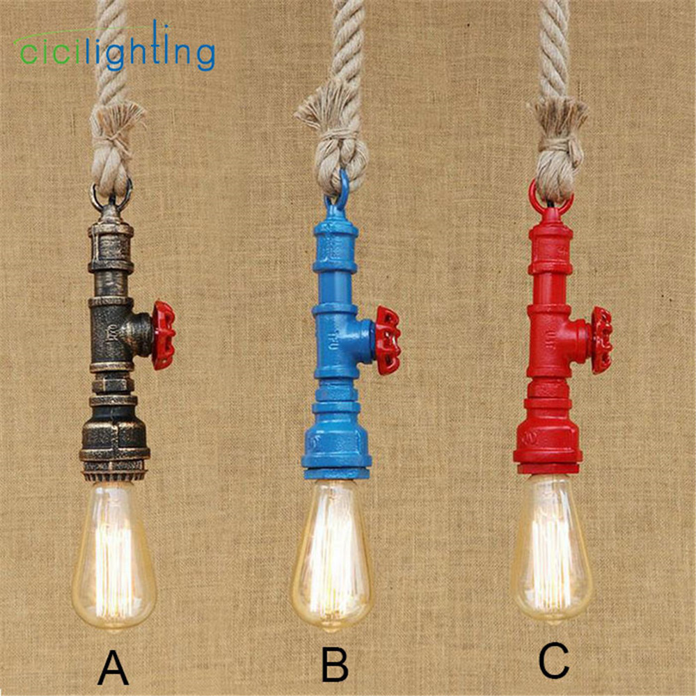 Nordic style 120cm rope pendant light Edison retro vintage water pipe pendant lamp industrial cafe restaurant hanging lighting loft style vintage pendant lamp iron industrial retro pendant lamps restaurant bar counter hanging chandeliers cafe room