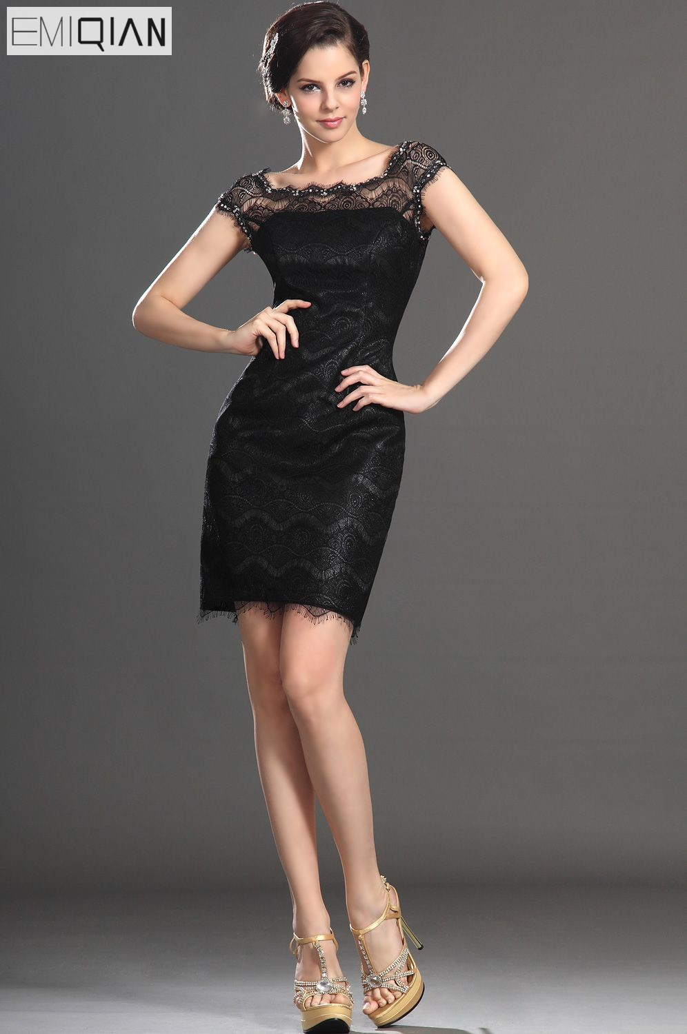 Free Shipping New Fabulous Cap Sleeve Beaded On Neckline Little Black   Cocktail     Dress