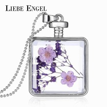 LIEBE ENGEL Fashion Glass Collares Vintage Silver Color Jewelry Newest Dry Flower Statement Necklace Pendants Fine