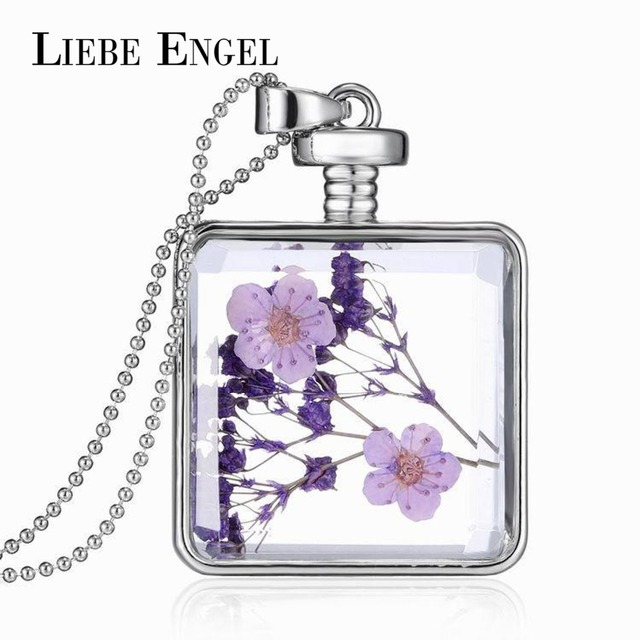 LIEBE ENGEL Fashion Glass Collares Vintage Silver Color Jewelry Newest Dry Flowe