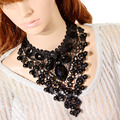 F&U 917 Top Quality New Statement Jewelry Vintage Bead Necklace Collar Necklace Long Black Lace Pendant Necklaces & Pendants