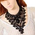 F & U 917 de Calidad Superior de la Nueva Joyería de La Vendimia collar Collar de Cuentas de Collar Largo de Encaje Negro Collares pendientes y colgantes