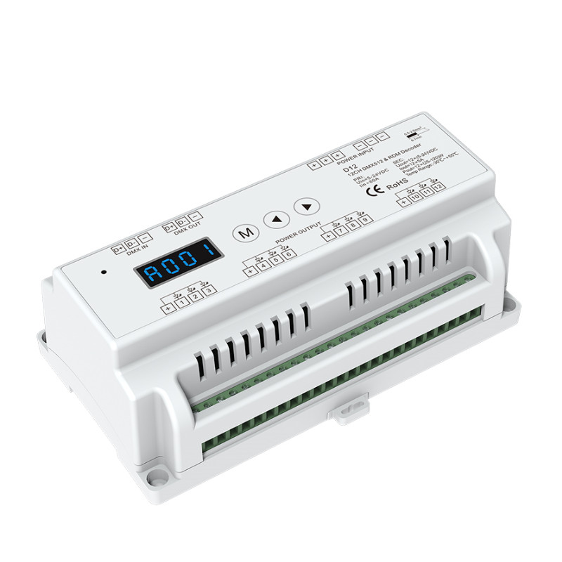 new d12 cv led dmx512 decoder constant voltage dc5 24v