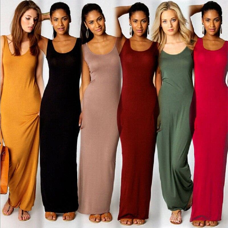 Haute Stretch Réservoir Robe Printemps Été 2019 Femmes Élégantes Sexy Robe O-cou Sans Manches Slim Maxi Robe Mince Longue Robe Robes
