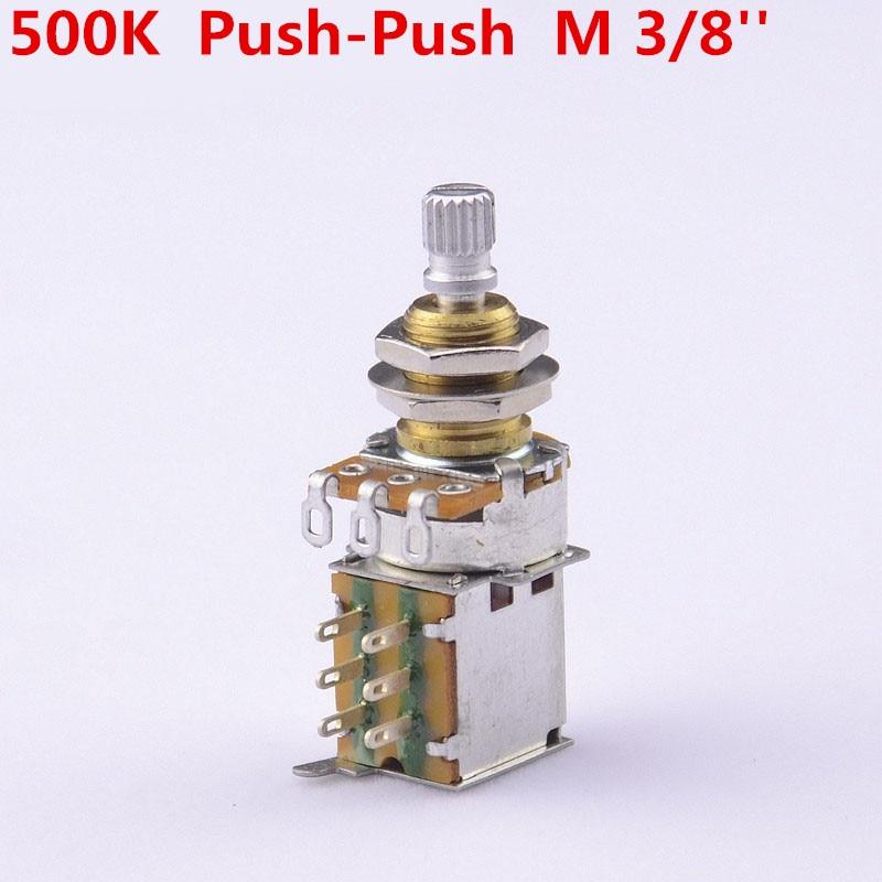 GuitarFamily Brass Shaft A500K/B500K Push Push Pot Potentiometer For Electric Guitar/Bass  ( Mounting Shaft Diameter 3/8 )